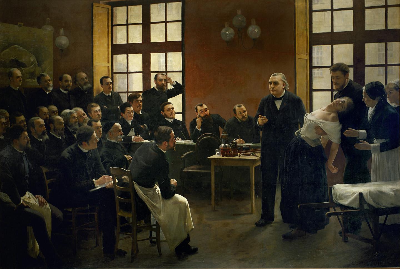 Var är Munthe?Professorn i neurologi Jean-Martin Charcot höll öppna föreläsningar i Paris i slutet av 1800-talet. Målningen av André Brouillet från 1887 visar hur välbesökt en sådan föreläsning kunde vara. Axel Munthe syns dock ingenstans bland åhörarna. Foto: IBL