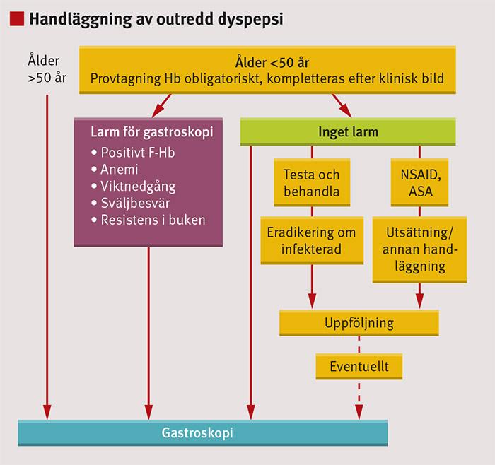 Figur 1. Handläggningsalternativ vid outredd dyspepsi.