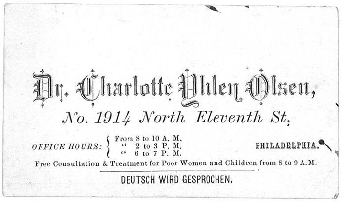 Dr Yhlens visitkort med adressen till hennes mottagning i Philadelphia, USA. Där verkade hon som allmänläkare på 1880-talet.