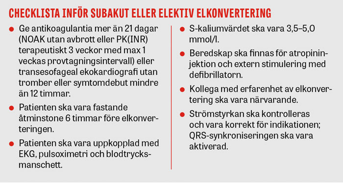 Checklista inför subakut eller elektiv elkonvertering