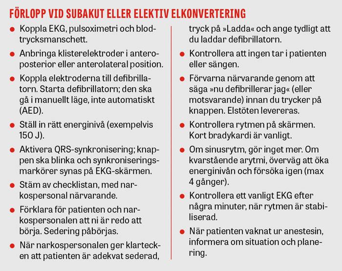 Förlopp vid subakut eller elektiv elkonvertering